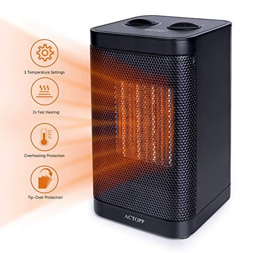 Calefactor Actopp de cerámica con ahorro de energía, calefactor de cerámica PTC, 1500 W, dos niveles de potencia, aislador rápido, calefactor eléctrico, protección contra vuelcos