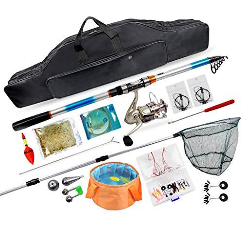 Zyu Kit de Aparejos de Pesca con Carrete de caña de hilar Combos Línea Señuelos Ganchos Bolsa de Viaje, para Pesca de Agua Dulce de Agua Salada en el mar, Conjunto Completo Profesional de Arranque