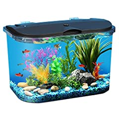 Energy-efficient LED lighting with 7 dazzling color selections to brightly illuminate your fish; choose daylight white, blue, green, amber, aqua, purple, or red. Powerful internal power filter cleans and purifies aquarium water at a flow rate of 45 g...