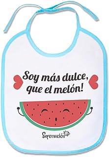 SUPERMOLON Babero Bebe Soy más dulce que el melón Azul celeste con cordones