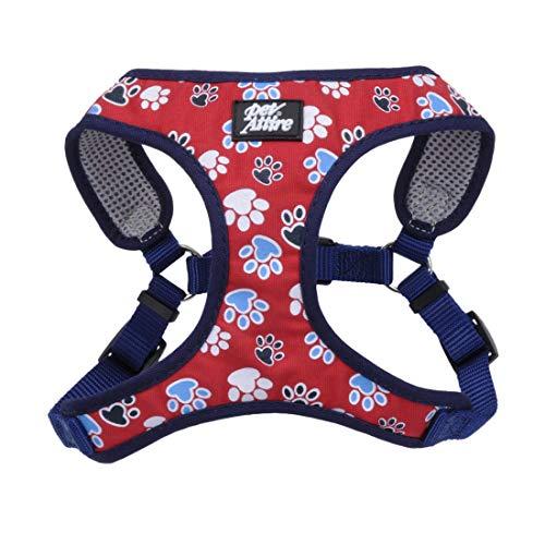 Coastal - Ribbon - Designer Wrap Adjustable Dog Harness, Red with Paws, 5/8