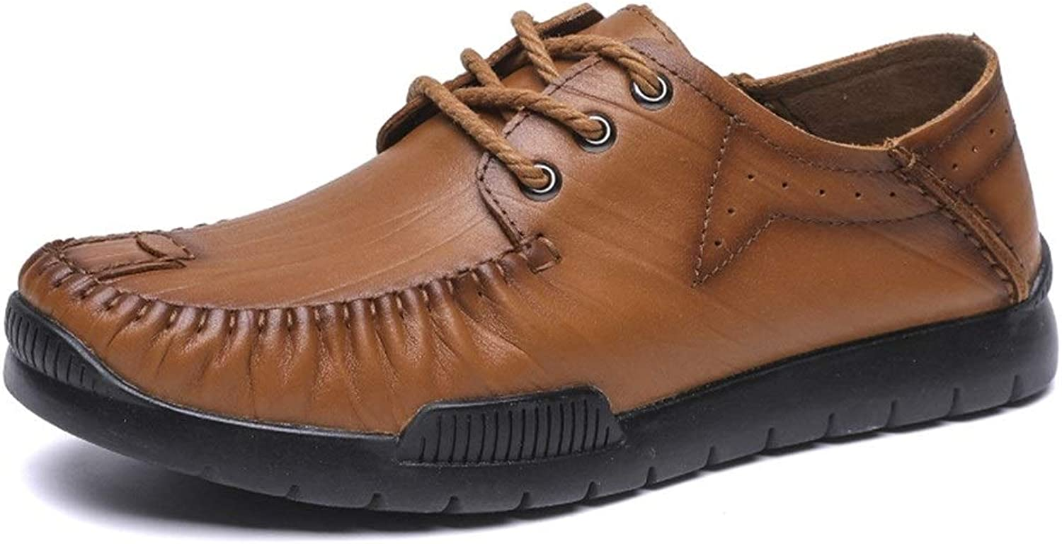Easy Go Shopping Leisure Oxford for Men Formal shoes Lace Up OX Leather Comfortable Round Toe Classic Soft Breathable Cricket shoes (color   Brown, Size   6 UK)