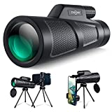 Monocular Telescope 12X50 HD Monoscope with 2 Tripod Adapter, Handheld Telescopes for Adults High Power Zoom BAK4 Prism Dual Focus Monocular for Adults Camping Gadgets Hiking Gear Hunting Gear