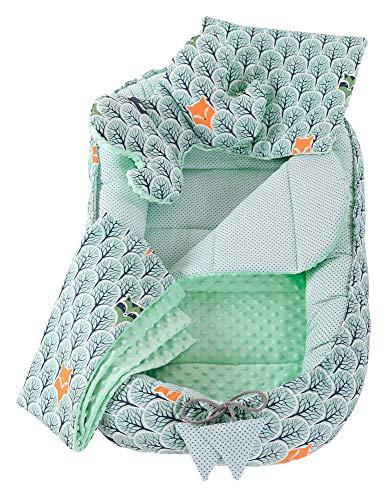 5tlg. Kuschelnest-Set inkl Babynest 90x50 herausnehmbarer Einsatz Flachkissen Krabbledecke Schmeterrling-Kissen Medi Partners für Babys 100% Baumwolle (Wald mit minzer Minky)
