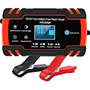Car Battery Charger 12V/8A 24V/4A Automatic Smart Battery Charger/Maintainer with LCD Display Pulse Repair Charger Packfor Car, Lawn Mower,Motorcycle, Boat, SUV and More