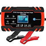 Car Battery Charger 12V/8A 24V/4A Automatic Smart Battery Charger/Maintainer with LCD...