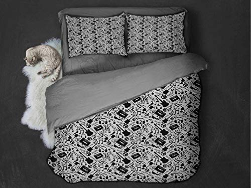 Toopeek Music Quilt cover 3-piece set Blues Jazz Punk Rock Various Type of Folk Indie Rap Reggae Peace Sign Sing Artwork Super soft and easy to maintain (Full) Black White