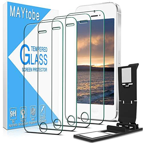 MAYTOBE - Set di 4 pellicole protettive in vetro temperato per iPhone 5, 5S, 5C, SE 2016, anti-graffio, senza bolle, durezza 9H, senza impronte digitali, HD Clear]
