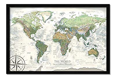 Push Pin World Map - Personalized The Nautilus World Travel Map - Created by a Professional Geographer by