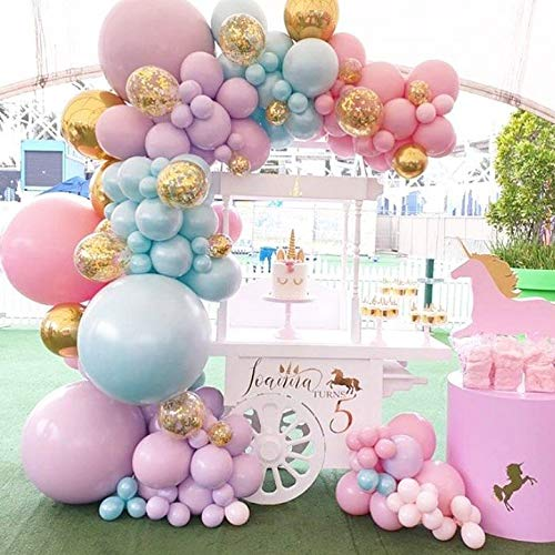 Pastel Pink Balloon Garland Arch Kit-Light Green Balloon Pink Balloon Rose Gold Balloon Gold Confetti Balloon 135Pcs for The Princess Birthday Wedding Engagement Graduation Picnic Christmas or Party Decorations.