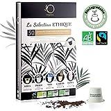 Capsules Nespresso Compatible | 5 Cafés BIO Fairtrade Arabica en Capsule Biodégradable Compostable | Coffret Premium 50 dosettes Nespresso | Torréfaction Artisanale