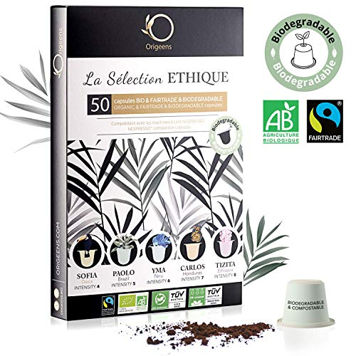 ☘️ Nespresso Kapseln Kompatibel | BIO FAIRTRADE Arabica Kaffee in Kapseln Biologisch abbaubar | Premium Probierset mit 50 Kaffeekapseln | Traditionelle Röstung