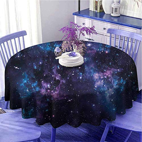 Mantel redondo espacial para acampar cielo místico con racimos de estrellas Cosmos Nebulosa Paisaje Celestial Obra de Arte Decorada Cocina Diámetro 109 cm Púrpura Oscuro y Azul