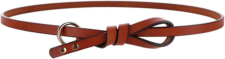 Women's Belt Retro Leather Leather Rivets Circle Knotted Belt Dress Decorative Belt (color   Brown)