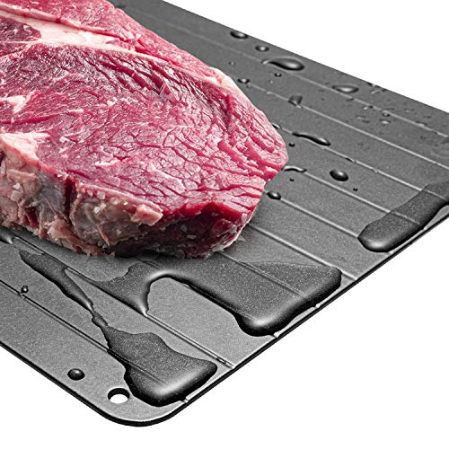 GAFICHEF Defrosting Tray, High Density Aviation Aluminum Thawing Plate for Faster Defrosting Frozen Food, Quicker Safer Way to Defrost Meat Pork Beef Fish ,No Chemicals, No Microwave | Premium Quality
