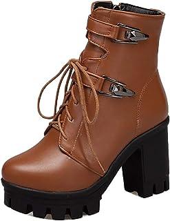 FANIMILA Women Fashion Short Martin Boots Block Heels Zipper