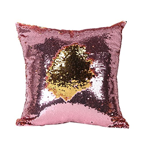 UEETEK Glitzer Pailletten werfen Farbwechsel Skala dekorative Home Kissen Sofa Kissenbezug