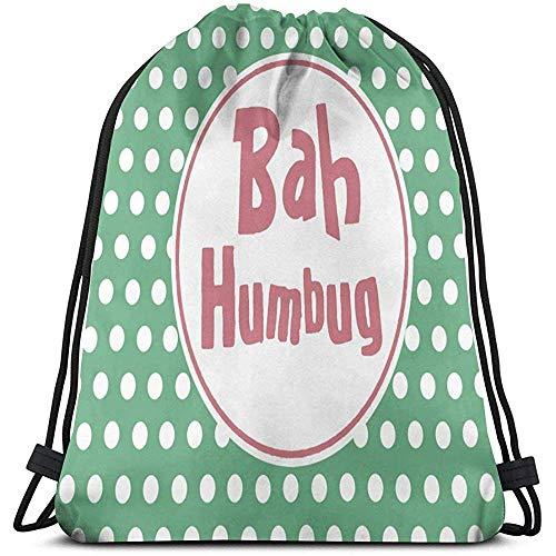 Kinderrucksäcke,Bah Humbug Christmas Gym Bag Leichte Aufbewahrungstasche Goody Bag Bulk Rucksack Kordelzug Cinch Taschen Zum Klettern Wandern Reisen