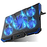 Carantee Laptop Cooling Pad 5 Quite Fans Notebook Cooler Pad USB Powered, Blue LED...