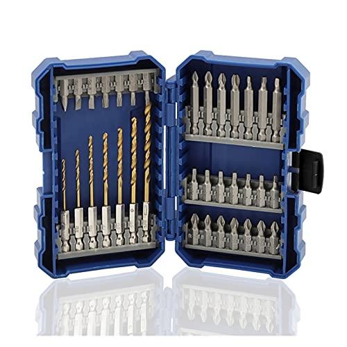 YUANLIN Taladro 35pcs Electric Destornillador Ajustes Set de bits Phillips Hex Phillips Magnético Setter Soporte de bits Guía de Tornillo de Impacto Taladros (Color : 35pcs with Box)