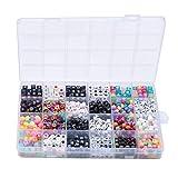 Lebeaut Granos de acrílico Número Beads Cube 7 mm, con número de Colores Utilizado En La Fabricación De Joyas De Bricolaje. (Color : Multi-Colored)