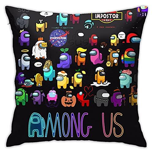 Matasleno Among Us - Funda de almohada con diseño de impostor, funda de almohada cuadrada suave, funda de almohada decorativa para el hogar, funda de cojín para sofá, cama, silla