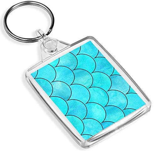 Porte-clés en vinyle Destination - 1 écailles de poisson sirène - Bleu Japon - IP02 - Cadeau pour maman papa enfants #2546