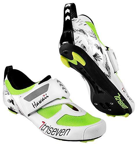 TriSeven Premium Triathlon Fahrradschuhe - Ultraleichte, atmungsaktive und Fiberglas Sohle | Der schnellste Schuh in der Übergangszone! (46 EU, Fluo)