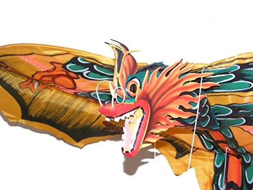Grande traditionnel fait à la main Jaune balinais Dragon Kite – Envergure 118 cm, longueur 218 cm – Commerce équitable