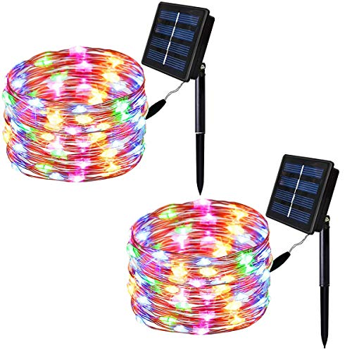 Solarmks 2 Pack Solar String Lights,33ft 100 LED Copper Wire Christmas Lights Outdoor Waterproof Garden Decoration for Patio, Gate, Yard, Party, Wedding, Christmas,Xmas Tree (Multicolor)