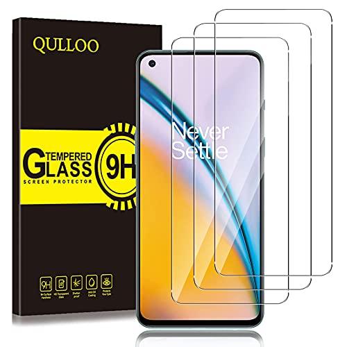 QULLOO per OnePlus Nord 2 5G / Nord CE 5G Vetro Temperato Pellicola Protettiva, [3 Pezzi] 9H Durezza Full Coverage Protezione Schermo in Vetro Temperato
