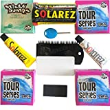MoeSurfing Sticky Bumps Wax Plus Solarez UV Cure Resin Ding Repair Kit Now Includes a Futures Fin Key, 3 Bars Tour Series Cool/Cold Wax and 1 Bar Base Coat Plus a Flexcomb to Clean Your Board