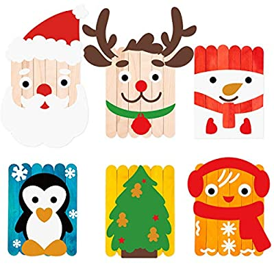 WATINC 6 Pack Christmas DIY Craft Supplies kit for Kids, Creative Craft Art for Classroom or Home, Wooden Sticks Googly Eyes DIY Art Supplies, Christmas Party Favor, Birthday Gifts for Boys and Girls