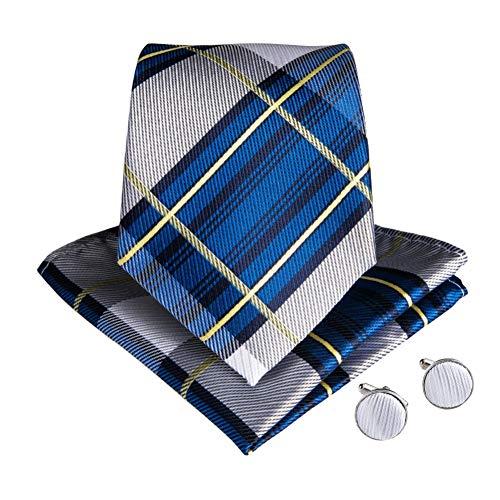 WOXHY Cravate Homme Bleu Plaids Cravate Ensemble Soie Jacquard Cravate Hanky Boutons De Manchette Set Pocket Square Mariage