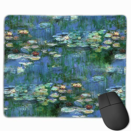 Mouse Pads Lilies Claude Monet Water Lilies Mousepad Mouse Pad Mat with Nonslip Stitched Edge Rubber Base for Gaming Computer Laptop Office Home