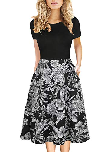 Casual Work Dresses Vintage 50s 60s Fit and Flare Dress for Women Summer Cocktail Short Sleeve Frocks Knee Length 162 (M, Black-BF)