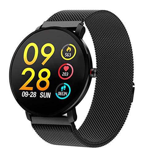 QLK Smart Watch, K9 Hombre IP68 Impermeable, 1.3 Pulgadas, IPS Pantalla Táctil Completa Reloj Monitor De Ritmo Cardíaco Fitness Tracker Deportes Smartwatch,B