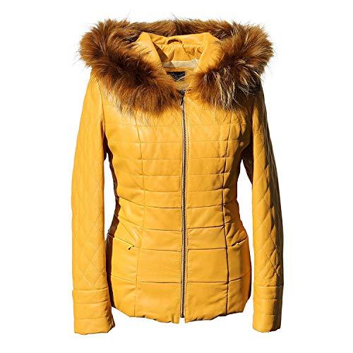 Hollert Damen Lederjacke BRYDA wattierte Echtleder Jacke abnehmbare Kapuze mit echtem Fuchs Größe S, Farbe Senf
