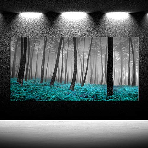 iKNOW FOTO Art for Home Walls Canvas Prints Forest Mist with Teal Trees Black and White Woods Scenery Painting Long Canvas Artwork Contemporary Nature Picture Framed for Home Living Room Office Decor