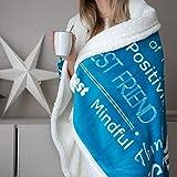 HUGGAROO Sherpa Decke - 150x125 cm Tagesdecke | Kuscheledecke mit flauschigem flannel Futter für kuschelige Sofamomente, Beste Freundin Modell, Blaugrün