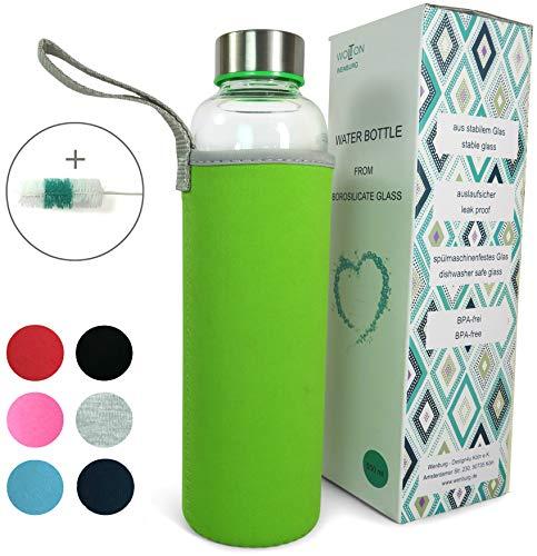Wenburg Wolton Trinkflasche/Glasflasche mit Edelstahl Deckel 550 ml / 750 ml / 1 l, Neopren Hülle. Sportflasche/Wasserflasche aus Glas. Für Unterwegs (Lime, 0,55 l)