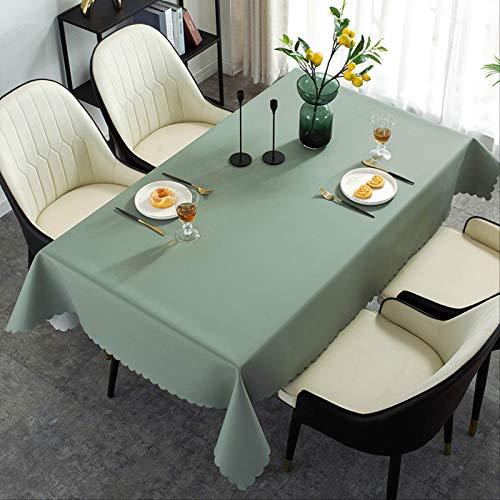 Mantel Verde de Acacia de Color Puro Impermeable, a Prueba de Aceite y a Prueba de escaldaduras, Estera de Mesa de café de PVC desechable para decoración del hogar 140 * 200 cm