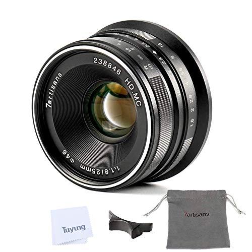 7artisans 25mm F1.8 Manual Focus Lens für Fujifilm Fuji X-A1 x-a10 x-a2 x-a3 x-at M1 XM2 X-T1 x-t10 x-t2 x-t20 X-Pro1 x-pro2 X-E1 X-E2 x-e2s - Schwarz