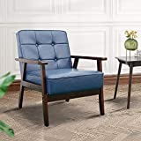 Okeysen Accent Chair, Mid-Century Modern Armchair, Faux Leather Retro Lounge Chair with Armrest, Wooden Single Sofa for Living Room.(Navy Blue)
