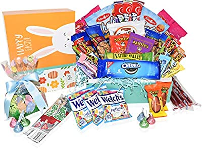 Easter Care Package - Filled with Candy, Chocolates, Snakes, Cookies and More. Perfect for Kids, Girls, Boys, College Students - Great Easter Gift Basket -Yellow Box