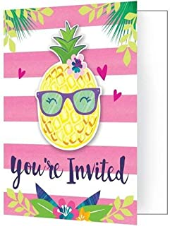Creative Converting 332427 Pineapple and friends Invitation, One Size, Multicolor