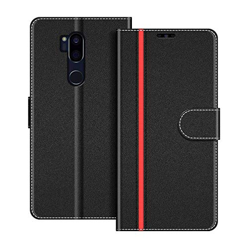 COODIO Handyhülle für LG G7 ThinQ Handy Hülle, LG G7 ThinQ Hülle Leder Handytasche für LG G7 ThinQ Klapphülle Tasche, Schwarz/Rot
