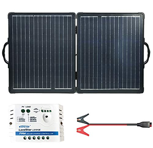 Newpowa 100W 12V Monocrystalline Foldable Portable Solar Panel Kit Suitcase with Charge Controller and Battery Cable for Off Grid RV Camping Boat