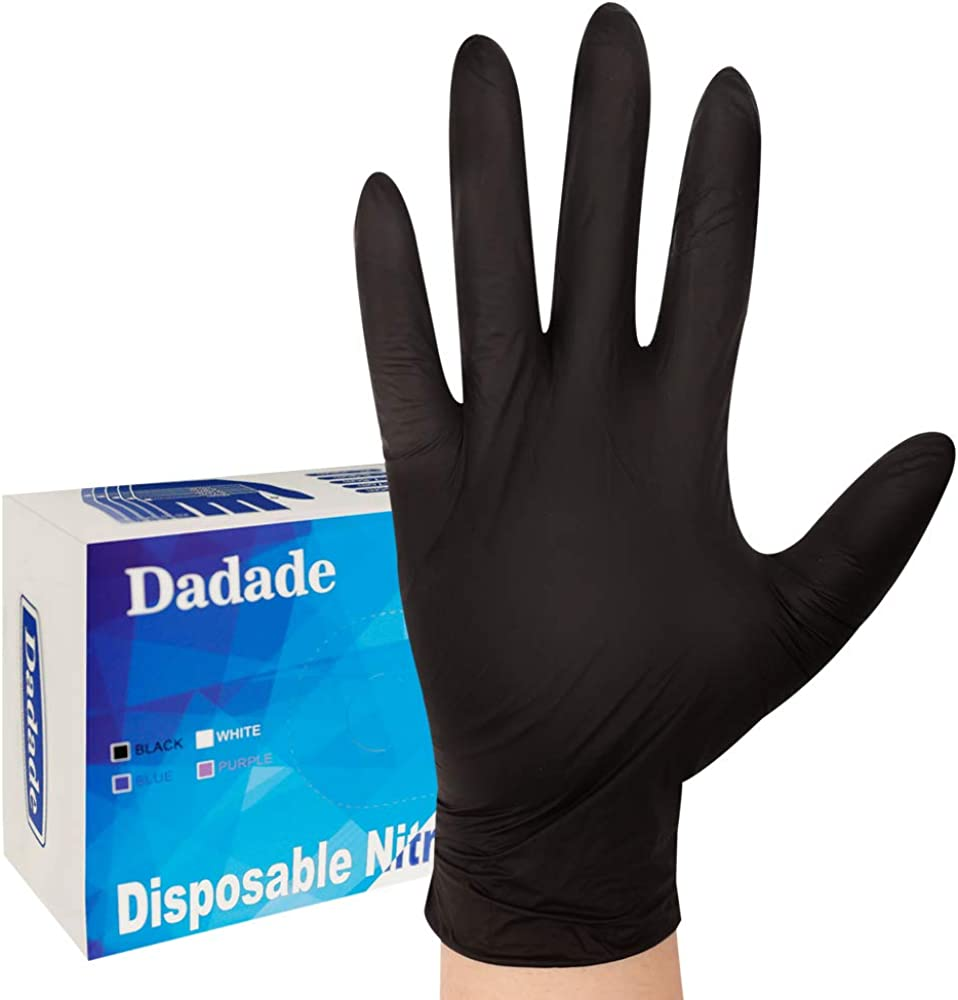 100 Pcs Disposable Black Nitrile Gloves Latex Free Powder Free - Medical,Surgical,Home Cleaning,and Food Gloves-4 Mil