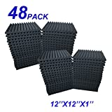 48 Pack 12'X 12'X1' Acoustic Panels Studio Soundproofing Foam Wedge Tiles, (48BLACK)